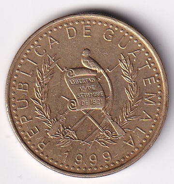 "GUATEMALA – 1 Quetzal ""Peace Dove""1999 UNC (1464)"