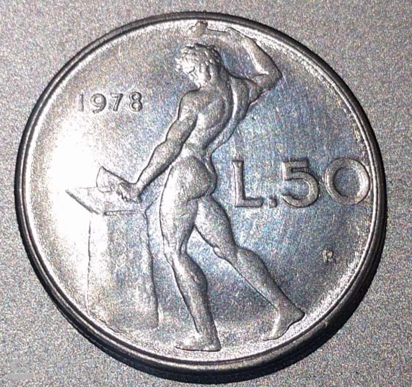 """ITALY – 50 Lire """"Vulcan Standing"""" 1961-93 UNC (1556)"""