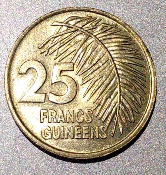 "Rep. GUINEE – 25 Guinean Francs ""Palm Leaf"" 1987 BUNC (1768)"