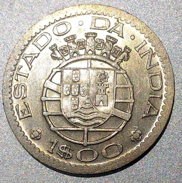 PORTUGUESE-INDIA – 1 Escudo 1958-59 V.F. Rare (0822)