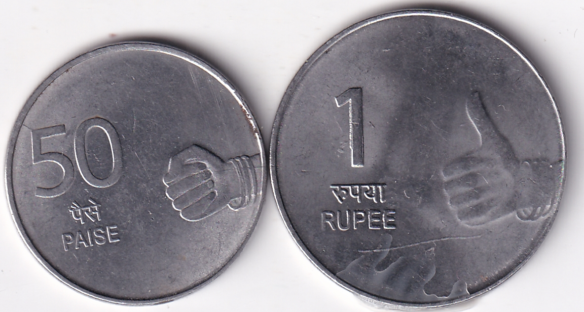"INDIA – 50 Paise+1 Rs. ""Part of Hast Mudra"" 2009 UNC (1792)"