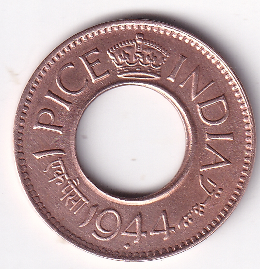 George VI King – 1-Pice Hole Coin 1944 Bombay UNC (1870)