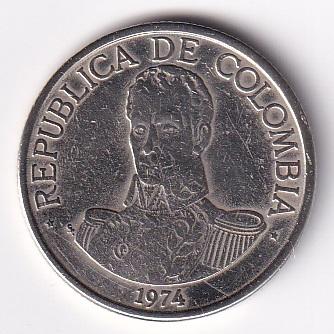 "COLOMBIA- 1 Peso ""Simon Bolivar"" 1974… XF Rare (1647)"