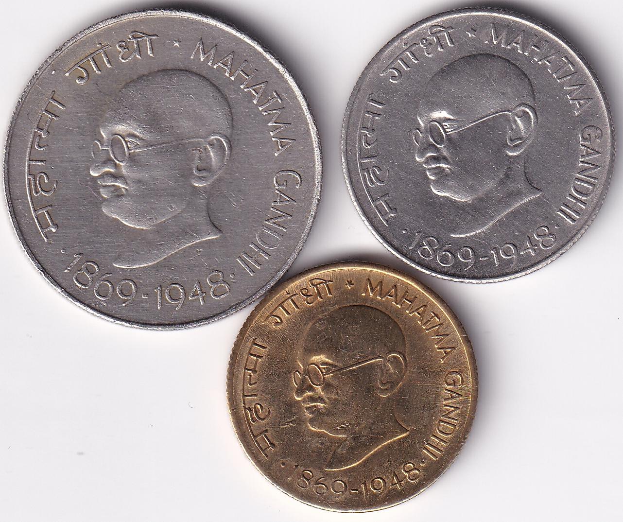 INDIA – Mahatma Gandhi Commemo. Set of Rs.1, 50 PS, 20 PS 1969 UNC (0006)