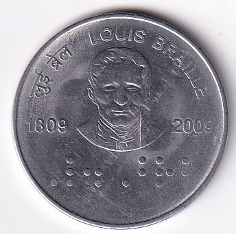 """Rep India – Commemo. 2-Rupee """"Sir Louis Braille"""" 2009 UNC Rare (1205)"""