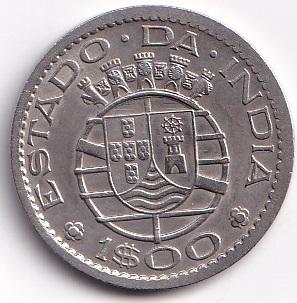 PORTUGUESE-INDIA – 1 Escudo 1958-59 UNC Rare (2027)