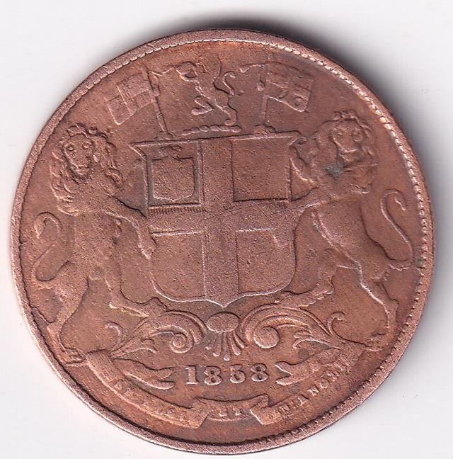 EAST INDIA CO. Antique 1-Qr. Anna AD-1858 'Birmingham Mint' VF Rare (1338)