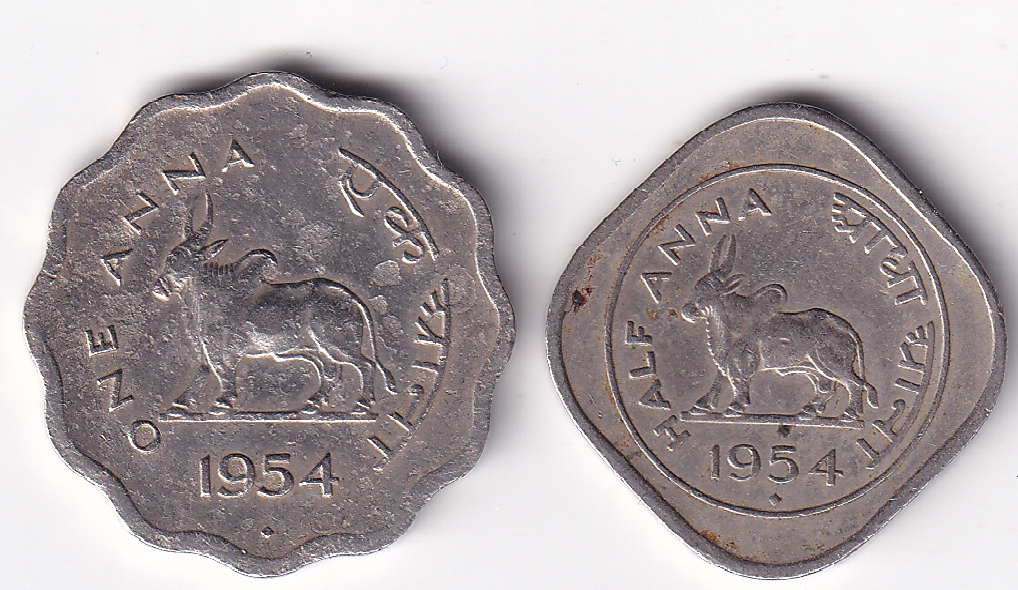 """Rep India – """"BULL"""" One Anna + Half Anna 1954  V.F. Rare (2026)"""