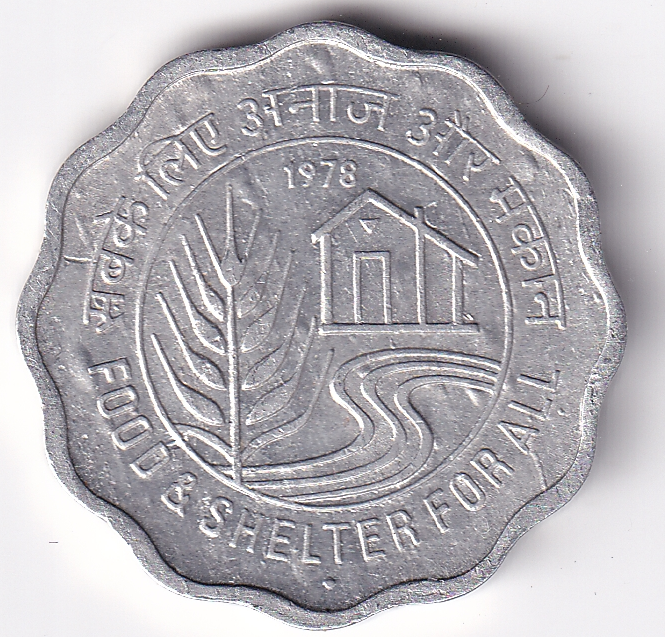 """INDIA – Commemo. 10 Paisa """"Food & Shelter"""" 1978 UNC (2204)"""