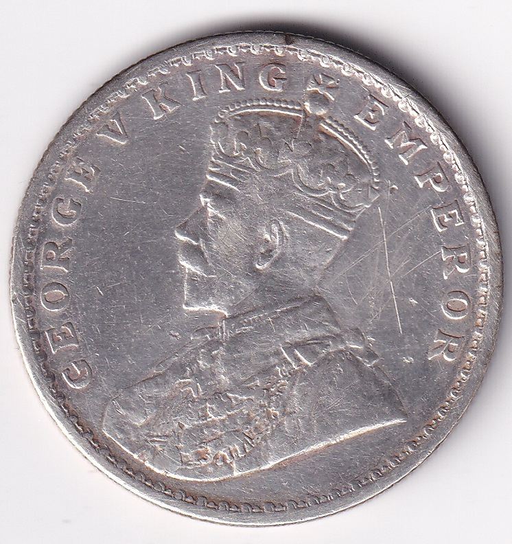 GEORGE V KING – Antique One Rupee 1917 SILVER XF Rare (1177)