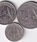 INDIA – Rare Rs.1, 1/2 n 1/4 Rupee 1950…XF (1676)