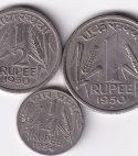 INDIA – Rare Rs.1, 1/2 n 1/4 Rupee 1950…XF (1677)