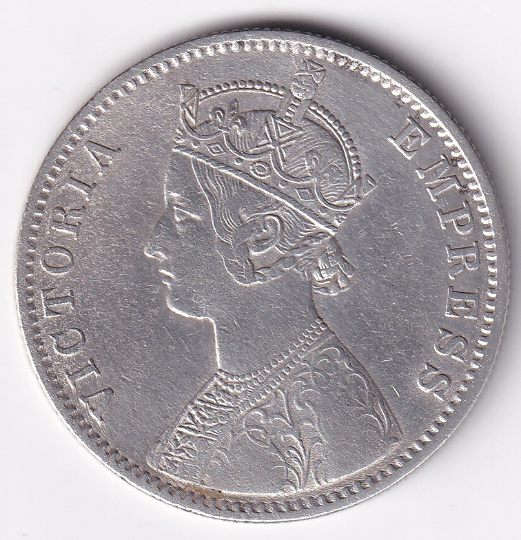 Victoria Empress Antique 1-Rupee 1892 SILVER VF Rare (2557)