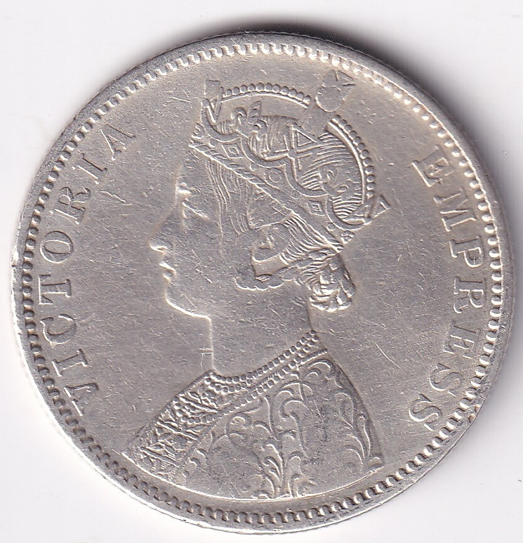 Victoria Empress Antique 1-Rupee 1887 SILVER VF Rare (0877)