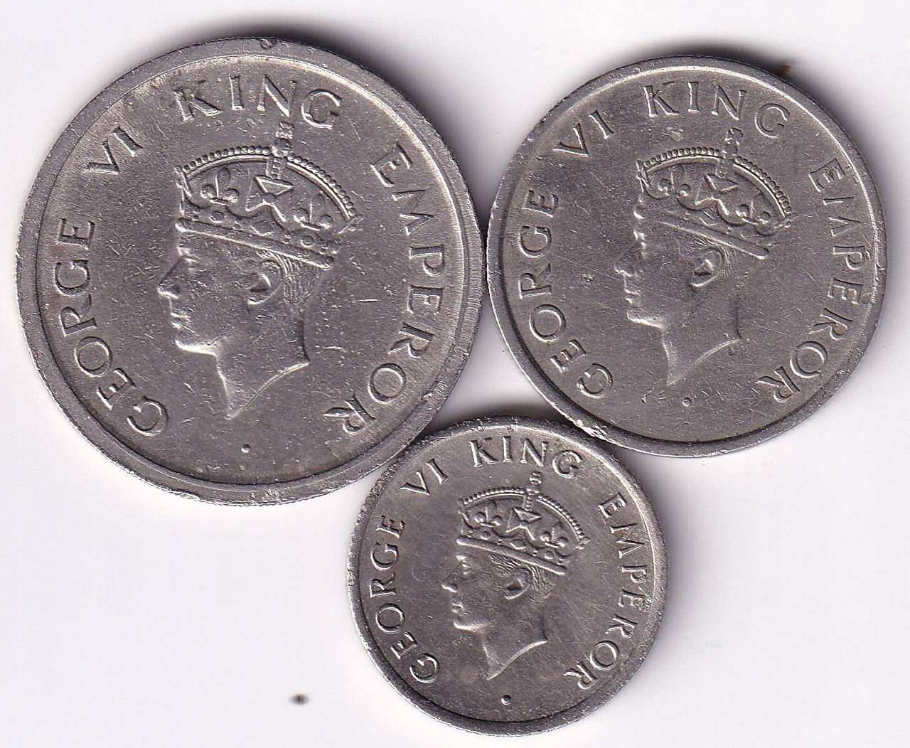 "King George VI – Set Rupee 1, 1/2, 1/4 ""Tiger"" 1947 UNC/VF Rare (0363)"
