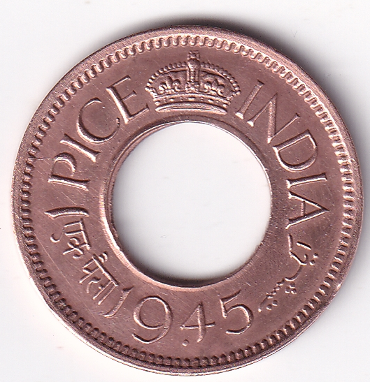George VI King – 1-Pice Hole Coin 1945 Bombay UNC (1871)
