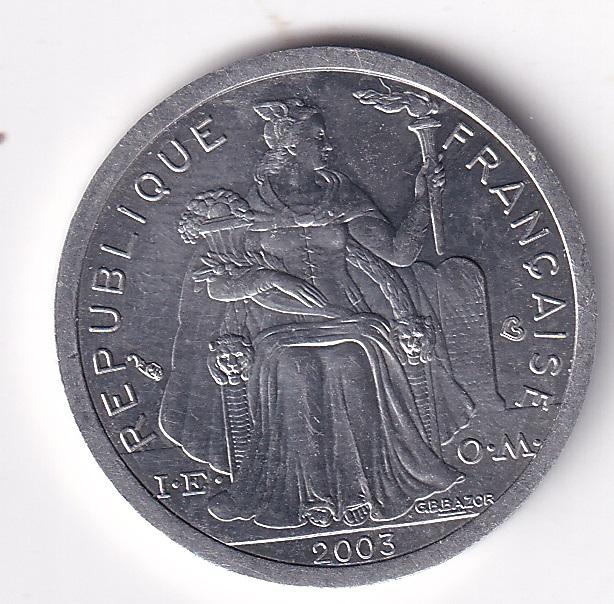 """FRANCE Polynesie – 1 Franc """"Liberty Sitting"""" 2003 UNC Mint (912)"""