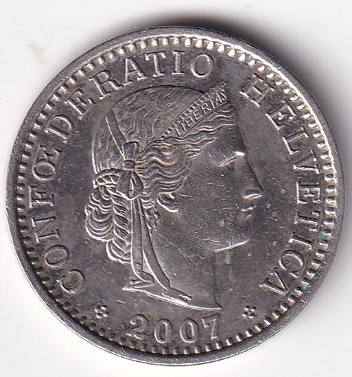 """SWITZERLAND – 20 Rappen """"Crowned Head"""" 2007 UNC (913)"""