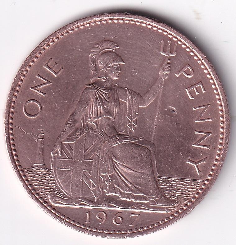 "U.K. Elizabeth II – 1 Penny ""Seated Britannia"" 1954-70 UNC Mint Rare (0963)"