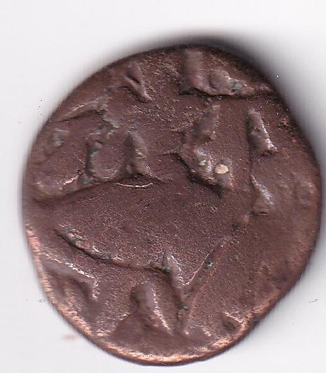 """KASHMIR – Didda Rani """"Goddess Seated"""" Bronze Stater Coin AD 979 (0281)"""