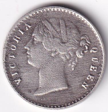 EIC Victoria Queen – Antique 2-Annas 1841 SILVER UNC Rare (0678)