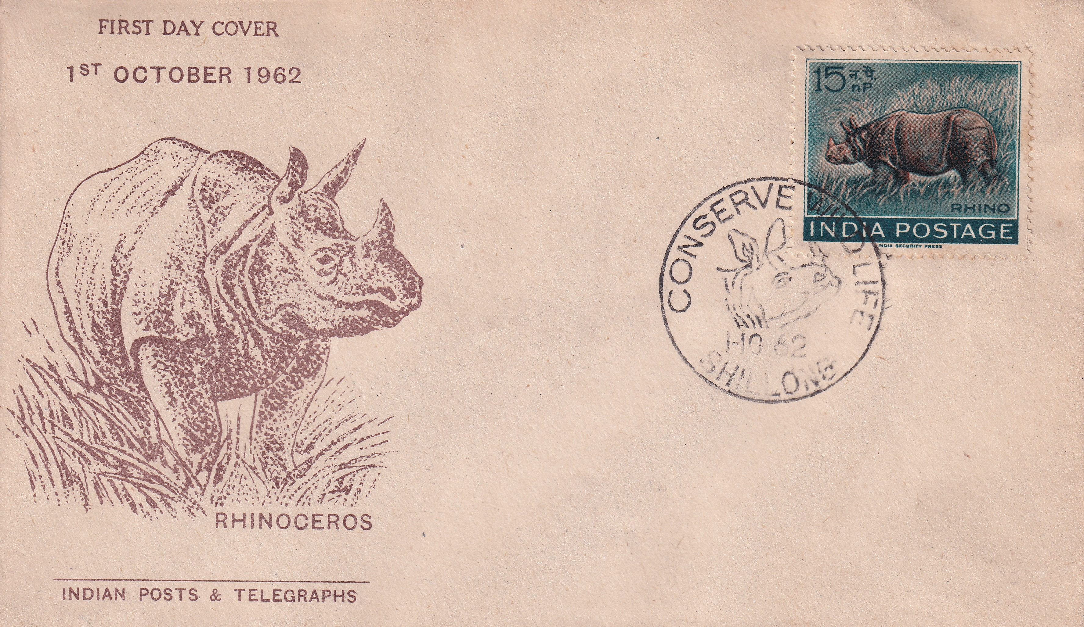 "Rep India – FDC ""RHINOCEROS"" by PnT UNC Rare (FDC3)"