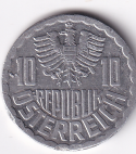 "AUSTRIA – 10 Groschen ""Coat of Arms"" 1951-2001 UNC (0115)"