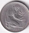 """GERMANY – 50 Pfennig """"Oak Plantation"""" 1984 XF (0134)"""