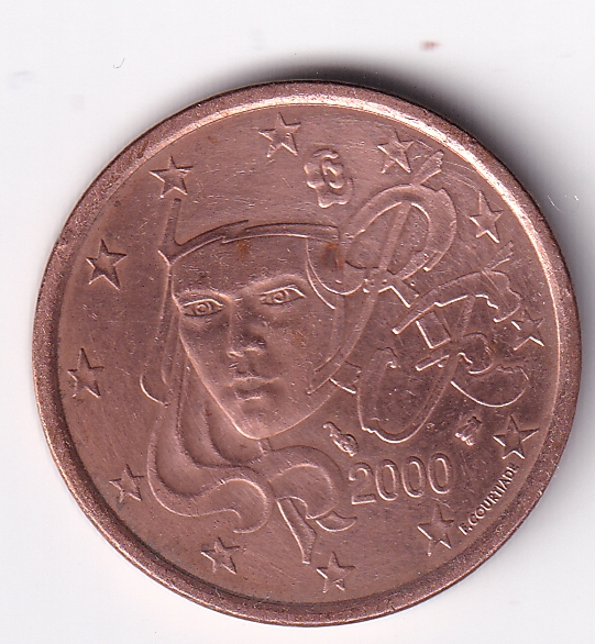 """FRANCE – 5 Euro Cents """"Young Marianne"""" 2000 UNC Mint (0420)"""