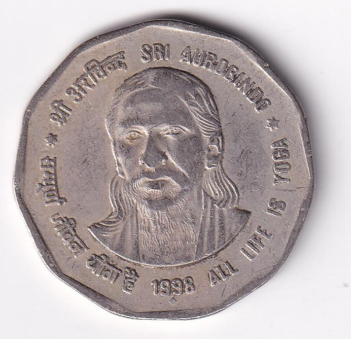 """INDIA – Commemo. Rs. 2 """"Sri Aurbindo"""" 1998 V.F. (2701)"""