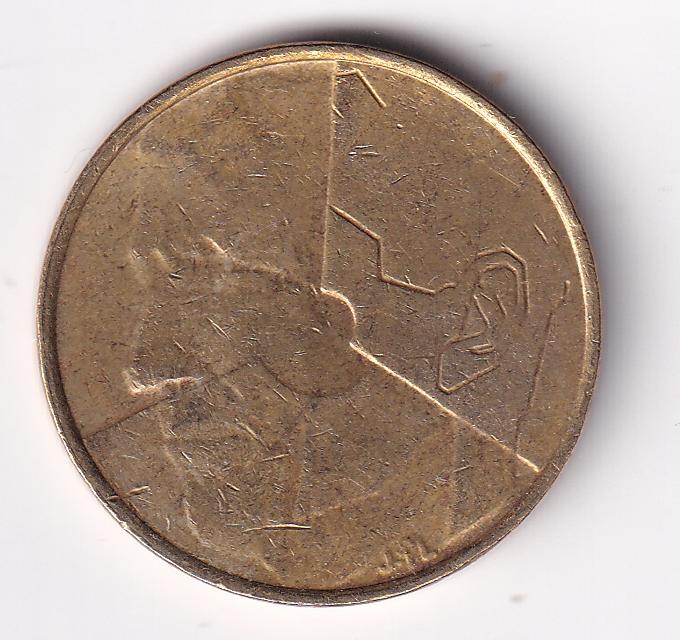 """BELGIUM – 5 Francs """"Stylized Baudouin I"""" 1987 UNC (2029)"""