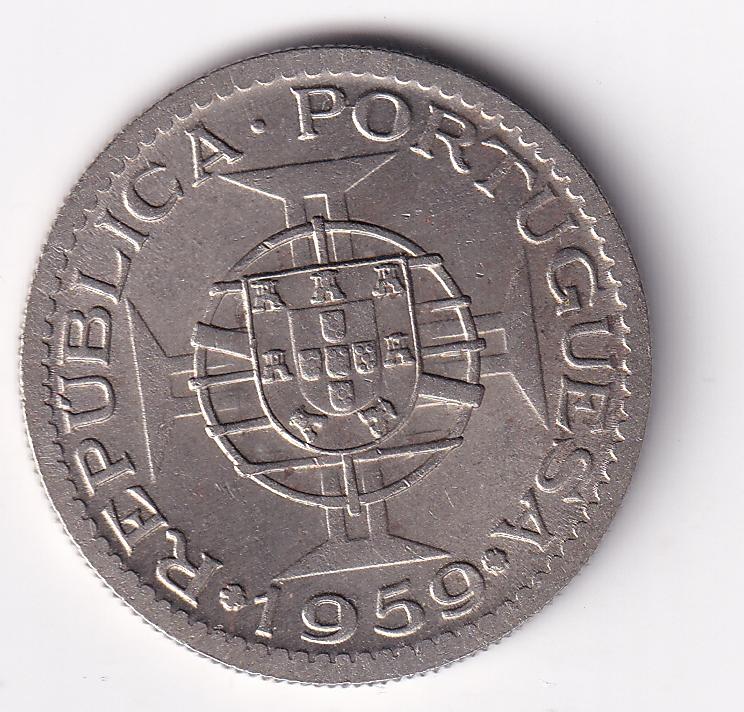 PORTUGUESE-INDIA – 3 Escudos 1958-59 like UNC Rare (0108)
