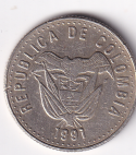"""COLOMBIA – 50 Pesos """"Coat of Arms"""" 1991 UNC (0527)"""