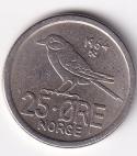 "NORWAY – 25 Ore ""Siberian Tit"" 1964 UNC (1287)"