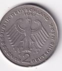 """GERMANY – Commemo. 2 DM """"Theodor Heuss"""" 1971 UNC (0156A)"""