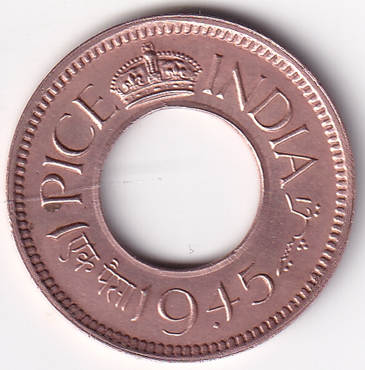 KING GEORGE VI – 1 Pice Hole Coin 1945 Bom UNC (1269)
