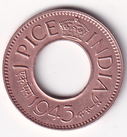 KING GEORGE VI – 1 Pice Hole Coin 1943 Bom Mint UNC (1270)