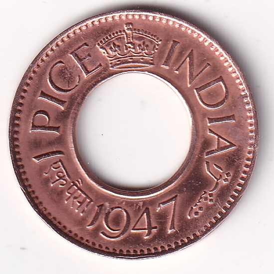 KING GEORGE VI – 1 Pice Hole Coin 1947 Cal Mint UNC (1602)
