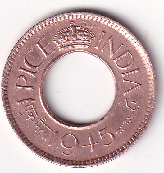KING GEORGE VI – 1 Pice Hole Coin 1945 Cal UNC (1858)