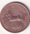 "INDIA – 1 Pice ""Horse"" 1951 Cal UNC (2381A)"