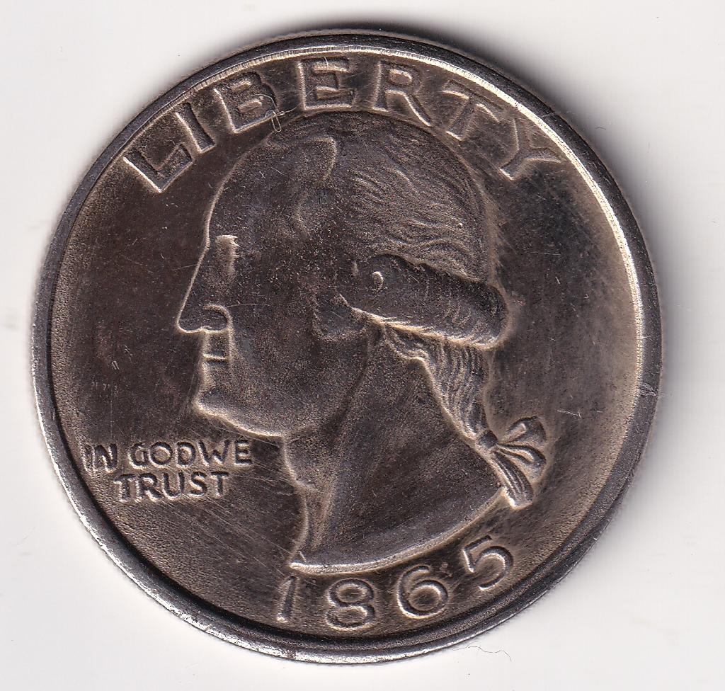 """U.S.A.  1 Dollar """"Washington"""" Fun Coin Non-Silver 1865 (0431)"""
