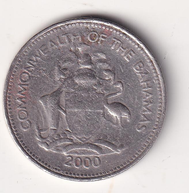 """BAHAMAS – 25 Cents """"Sailboat"""" 2000 XF Rare (0432)"""