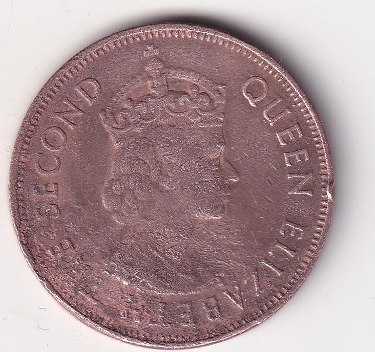 """MAURITIUS – 5 Cents """"Elizabeth II"""" 1961-75 VF (3003B)"""